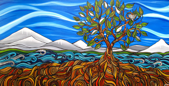 'Deeply Rooted' 30x60. Acrylic on canvas with sheet metal in waves & leaves, copper in roots. Painting by April Lacheur, metal work by Renato Horvath. SOLD