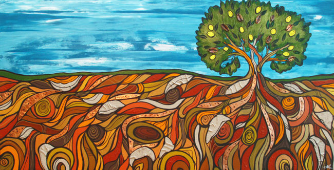 'Beauty Beneath' 24x48. Original acrylic with fabric & copper by April Lacheur & Renato Horvath SOLD