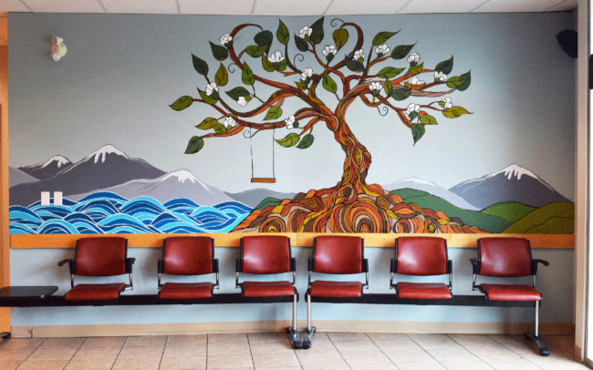 April Lacheur's mural commissioned by the Morgan Creek Medical Clinic in South Surrey 2017.