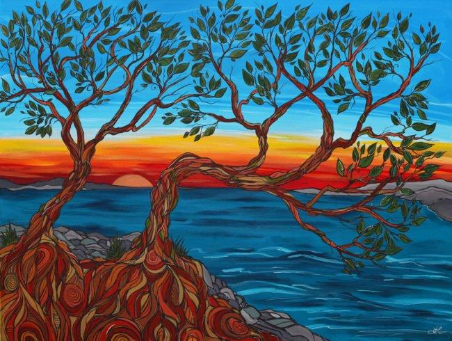 'West Coast Sunset' original acrylic painting by April Lacheur 36x48