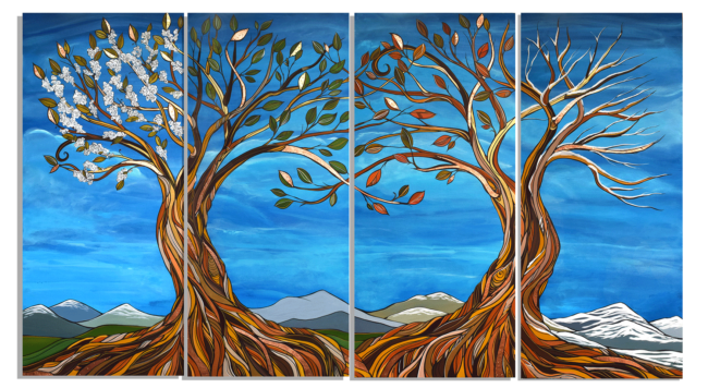 Nature's Seasons 42x72 acylic on wood with metal (brass and copper). Commission. by April Lacheur. Sold.