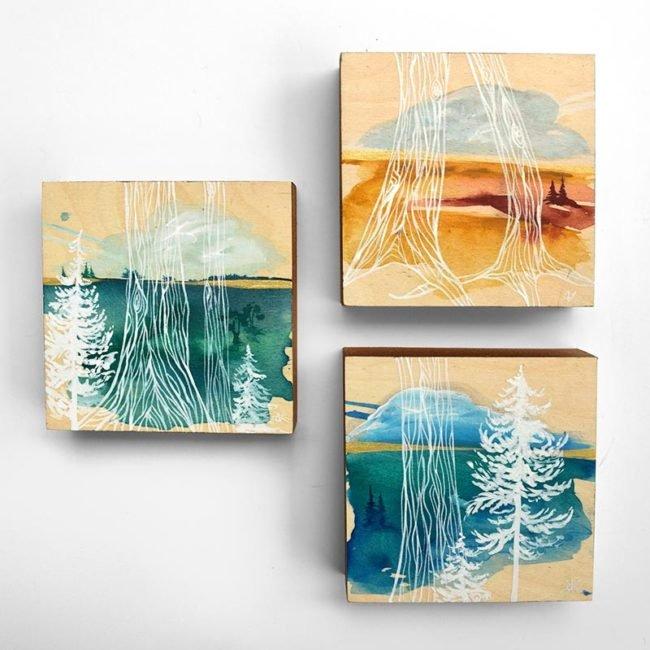 Transparent Landscapes. Each 6x6 on wood by April Lacheur. SOLD