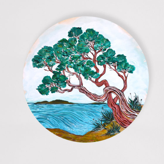 """'Oceanside Arbutus' by April Lacheur '36"""" round acrylic on wood."""